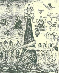 A tejóceán köpülése. Középen a köpülőként használt Mandara-hegy. körülötte a zsinegként használt Vászuki-kígyó, balra az istenek, jobbra az aszurák. Vászuki kobracsuklyája felett a csodaló, felette a csodatehén látható.