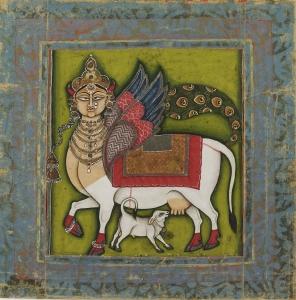 Kámadhenu. Jodhpur, Rajasthan, 1825-1855 körül. Philadelphia Museum, Stella Kramrisch Collection, 1994-148-401. (szabad felhasználás)
