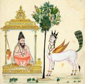 Kámadhenu egy bölcs, valószínűleg Vasistha társaságában. Tamilnadu vagy Andhra Pradesh, 1820 körül. British Museum, 2007,3005.47. (engedélyezett közlés)