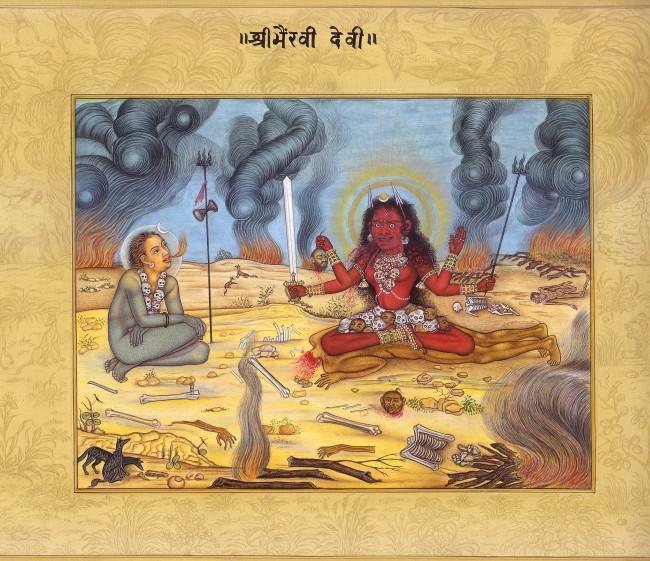 Siva és a félelmetes Bhairaví istennő a halottégető helyen. Kép forrása: http://www.exoticindiaart.com/ hl88
